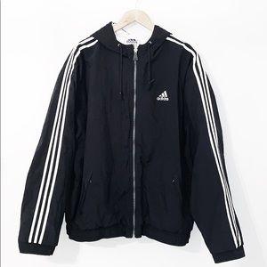 ADIDAS Vintage 1990's Black Nylon Hooded Jacket